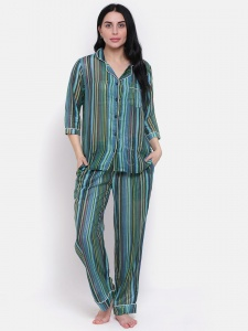 Zinniars Stylish high summer Hand Printed  IR-regular Stripe on thin Cotton Lurex Night Suit Set With Lapel Collar And 3/4 Sleeves, See thru (Z-2X-PJ-PAJAMA-202A)