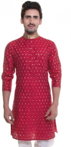 Men Red Jacquard Woven Designer Kurta