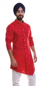 Men Red & Golden Jacquard Woven Designer Kurta (S9-MK-JDOB-202B)