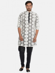 White Cotton Net Kurta Pajama with Contrast Black Lining S9-KP-19-1A