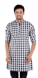 MEN Checkered Men's A-line Kurta  (White, Black)