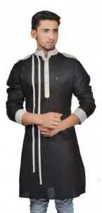 Men Black & Off White Color Solid A-Line Kurta (S9-MK-299A)