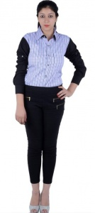 Women's Checkered, Solid Casual Black, White, Blue, Purple Shirt (S9-W-FS-2005)