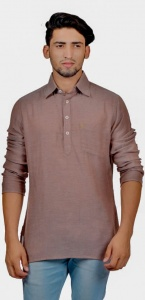 Men Brown Color Solid Short Length Kurta (S9-MK-SL-101B)