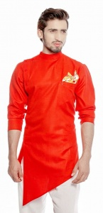 Men Hot Red Color Solid A-Line Diagonal Hemmed Kurta (S9-MK-340A)