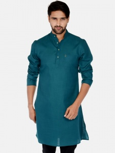Men Dark Green Solid Straight Kurta (S9-MK-201L)