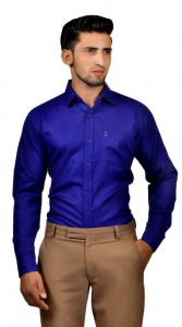 S9 Men Solid Formal Cotton Blend Shirt For Men(Dark Blue)  -S9-FS-253D2