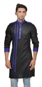 Men Black & Blue Color Solid A-Line Kurta (S9-MK-299B)