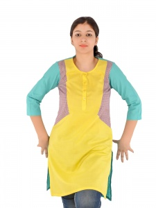 SRK Solid Womens A-line Kurti (Yellow) SRK-09009A
