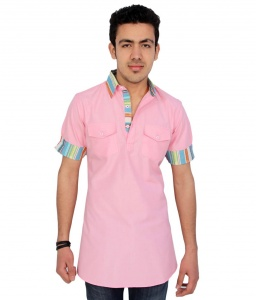 Men Baby Pink Pathani Straight Kurta (S9-MK-84)