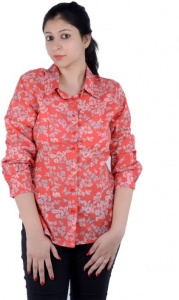 Women's Printed Casual Orange, Multicolor Shirt (S9-W-FS-2014A)
