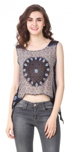Women Printed A-Line Layered Crop Top (CT-99U-01)