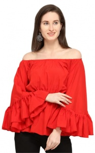 Red Flared long Sleeves A line Top For Women (PCT-SAU-001)