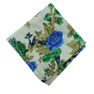 UNICARRESS Men Microfibre- Polyester Blue Floral Printed  Pocket Square RA-PS-132