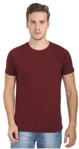 Plain Round Neck Cotton T shirt for Men  Maroon Colored (UC-ONFU-4M6J)