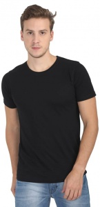 Plain Round Neck Cotton T shirt for Men Black Colored (UC-ONFU-4M6H)