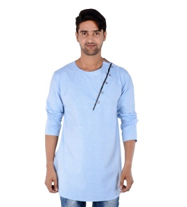 Men Blue Self Textured Angrakha Kurta (S9-MK-295E)