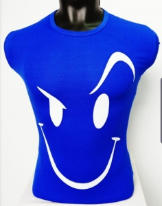 Round Neck Smiley Matty Tshirt for Men Blue UC-GCU-001