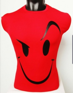 Round Neck Smiley Matty Tshirt for Men Red UC-GCU-002