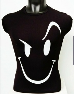 Round Neck Smiley Matty Tshirt for Men Black UC-GCU-005