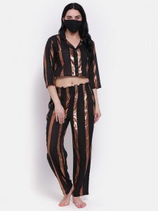 Zinniars Stylish Stripe Pattern Lurex Night  Suit Set With Lapel Collar And 3/4 Sleeves (Z-2X-PJ-PAJAMA-212A)