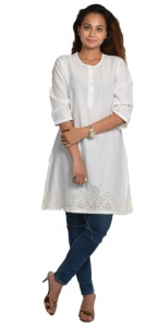 Cotton Round Neck Kurti (white) Zinn-KURT-2X01