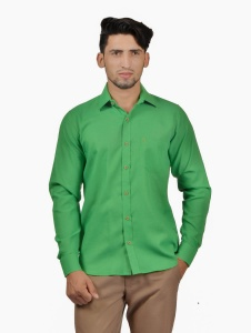 S9 Men Solid Casual Cotton Blend Shirt For Men(Parrot Green)  -S9-FS-255A