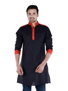 Men Black & Red Solid Pathani Kurta(S9-MK-229B)