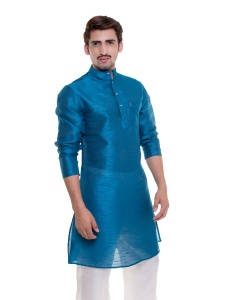 Men Teal Blue Polyester Kurta (S9-MK-201Z-DUP)