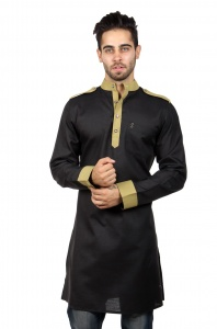 Men Black & Khaki Solid Straight Kurta (S9-MK-229A)