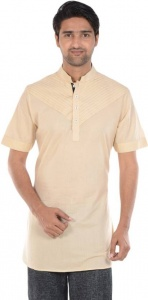 Men Beige Solid Straight Pathani Kurta (S9-MK-611C)