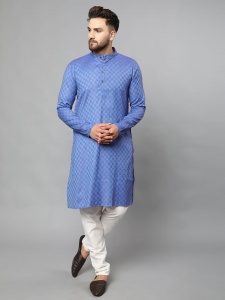 Classic A-Line Full Sleeves Kurta With Antique Buttons On Chest For Men With The Rich Taste (S9-VM-KP-710C/Blue)