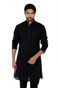 Men Black & Blue Dot Solid Straight Kurta ( S9-MK-276B)