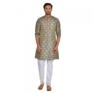 Cotton geometric pattern kurta with contrast white pyjama  S9-KP-19-03