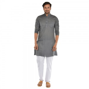 Cotton vertical stripes kurta with contrast white pyjama  S9-KP-19-07