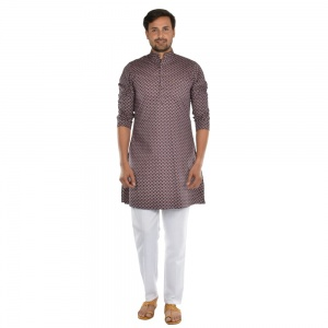 Cotton Mountains pattern kurta with contrast white pyjama  S9-KP-19-08