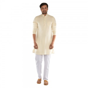 Cotton vertical stripes kurta with contrast white pyjama  S9-KP-19-14