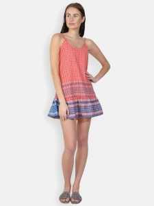 Slip on Dress  with hand Braided straps-100% Cotton Zinn-DRS-2x-04C