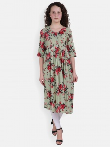 Floral Print Olive Green Kurti For Women (SRK-2X-DU-003D)