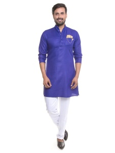 Men Dark Blue white Kurta Pyjama Set With Printed Pocket Square & Stylish Brooch