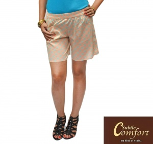 Elegant Cotton Shorts With Contrast Polka Dot And Elasticated Waist With Side Pocket  For Women  (SC-W-017)