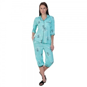 Two-Piece cute sleepwear / Nightsuit Capri Set featuring 3/4th sleeve top and Capri pants for relaxed fit(SC-Pj-Capri-20201A)