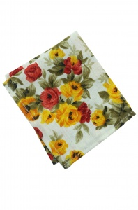 UNICARRESS Men Microfibre- Polyester Vivid Florid Pocket Square (Yellow Flowers) RA-PS- 130
