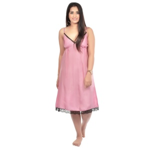 SLIP DRESS - NIGHT WEAR PURE SILK Zinn-SLP-SLK-2x02B (Pink N Black)