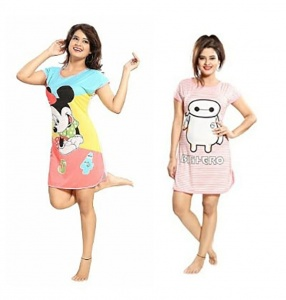Women's Cartoon Printed Knitted summer soft Night Wear pack of 2UDND-5,6)