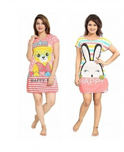 Women's Cartoon Printed Knitted summer soft Night Wear pack of 2(UDND-1,2)