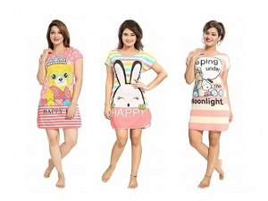 Women's Cartoon Printed Knitted summer soft Night Wear pack of 3 (UDND-1,2,3)
