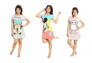 Women's Cartoon Printed Knitted summer soft Night Wear pack of 3  (UDND-4,5,6)