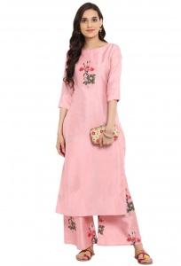 Women's Peach Pink colored Straight Kurti with print Insert on Chest (UD-ZIY-180520)