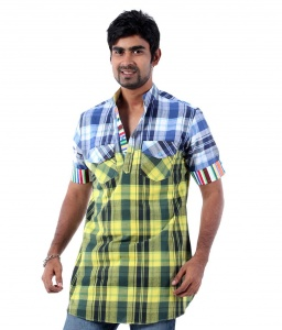 Men Blue & Yellow Checked Pathani Straight Kurta